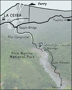 map of omega tour in honduras